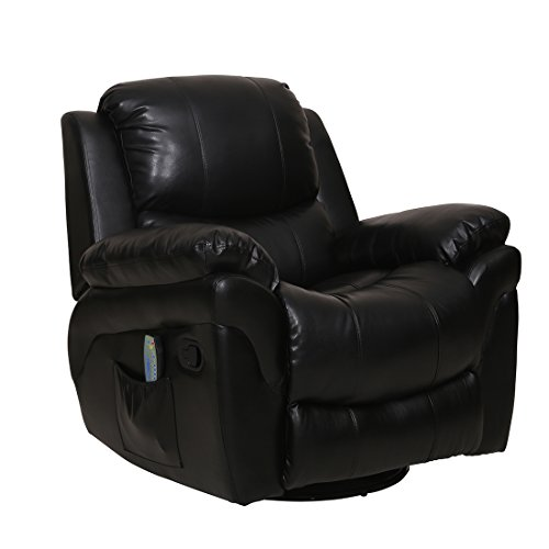 Leather Deluxe Recliner (Deluxe Ergonomic Recliner Massage Swivel Sofa Chair PU Leather Couch Rocker)