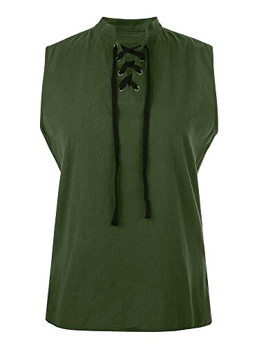 Mens Renaissance Pirate T Shirts Viking Medieval Sleeveless Lace Up Costume Scottish Cotton Tank Top