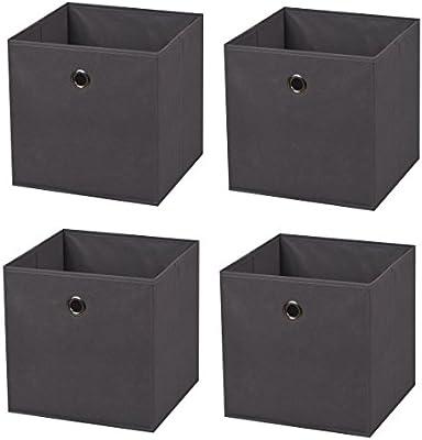 4 cajas gris oscuro – Caja plegable (28 x 28 x 28 cm caja plegable ...