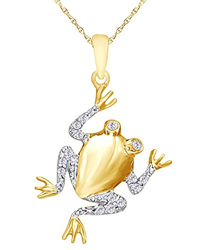Wishrocks 1/10 CT Round Cut White Natural Diamond Frog Pendant Necklace in 14K Yellow Gold Over Sterling Silver