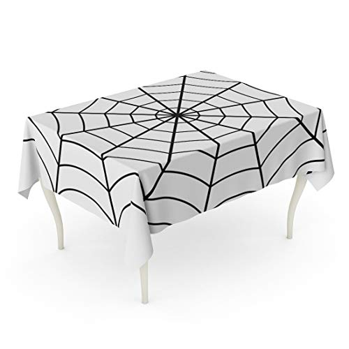 Semtomn Rectangle Tablecloth Spider of Cobweb Spiderweb Halloween Net Haloween Pattern Network 60 x 102 Inch Home Decorative Waterproof Oil-Proof Printed Table Cloth -