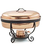 """Old Dutch 685CP 16.5"""" x 14.25"""" x 13.125"""" Hammered Copper, 6 Qt. Chafing Dish, one Size"""