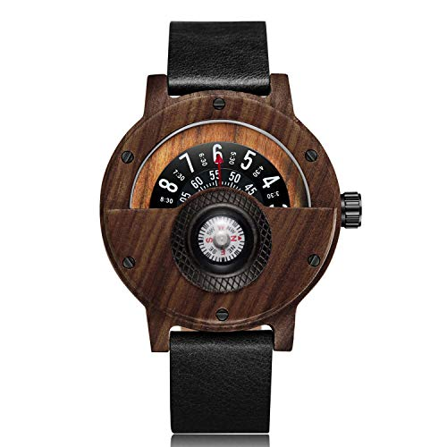 Compass Wood Watches for Men Creative Turntable Mens Wooden Watch Leather Bands Casual Wooden Watches
