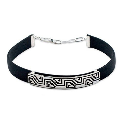 (NOVICA Men's .925 Sterling Silver and Black Rubber Wristband Bracelet 'Taxco Frieze', 8-8.75