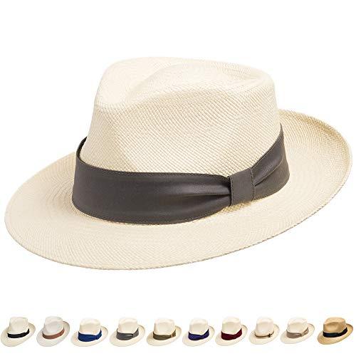 Ultrafino Genuine Havana Classic Panama Straw Dress Hat Comfortable Grey Hatband 7 5/8