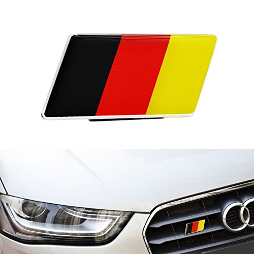 iJDMTOY (1) Germany Flag Emblem Badge Fit Germany Car Front Grille, Ex: Audi BMW Mercedes Porsche Volkswagen, etc