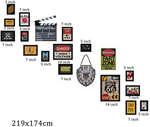 Cadre Photo r/étro am/éricain d/éfinit 5 Pouces Cadre Photo de 6 Pouces Cadre Industriel de Mur en m/étal de Style Industriel