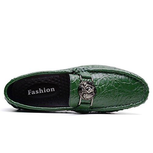 Loafer Mocassini Alligator Fino 47 Business Leisure alla Verde Scarpe Stampa Vamp Fashion Flat Xujw 2018 shoes Taglia Heel Casual Nuovo Men's SPx8tqz