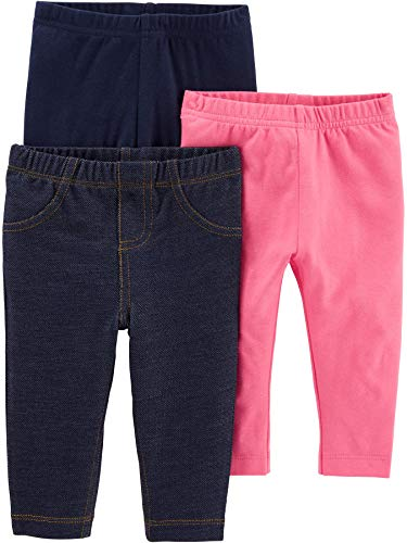 Simple Joys by Carter's Girls' 3-Pack Leggings, Navy/Pink/Denim, 12 Months