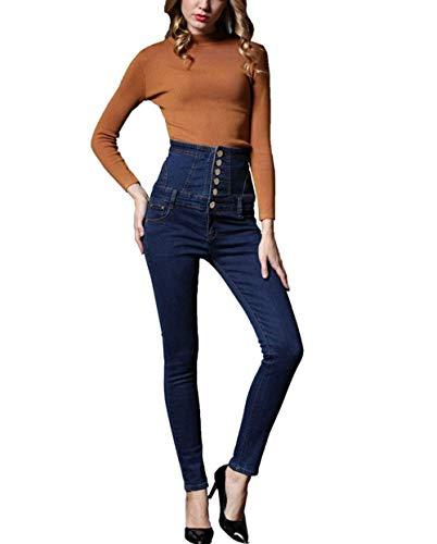 Elásticos Corsage Mujeres Pantalones La Stretch Pitillo a Cintura Alta Mezclilla Huixin Blau Vaqueros De wvqESP6