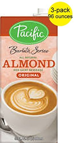 Pacific Barista Almond Beverage Pack of Three 32 Ounce Cartons by Pacific