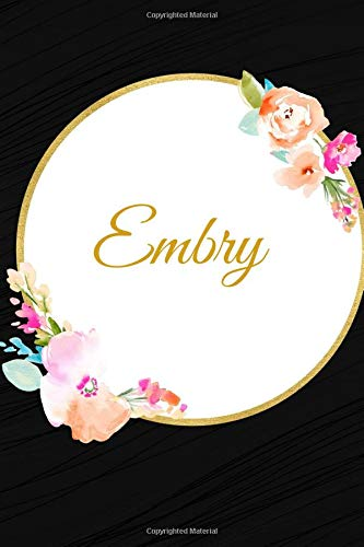 Embry: Customized Name Lined Journal Notebook Diary to Write In, Ruled Composition Planner, For Home Work Stationery, Great Gift for Girls Women, ... ... (Personalized Name Pads) [Idioma Inglés] por Graceland Journals