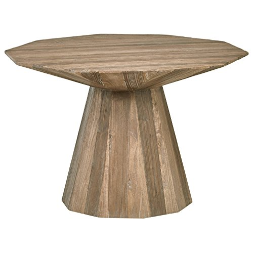 Rivet Modern Global Hexagonal Elm Dining Table, 47.2