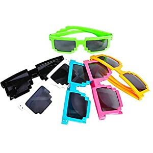 12 Pack 80's 8-Bit Pixelated Videogame Pixels Sunglasses Costume Accessory