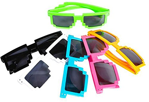 8 Bit Pixelated Costume (12 Pack 80's 8-Bit Pixelated Videogame Pixels Sunglasses Costume Accessory)