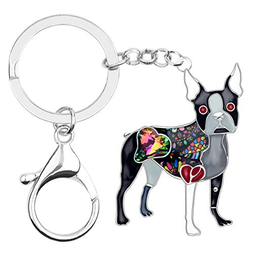 BONSNY Enamel Metal Heart Rhinestone Boston Terrier Dog Key Chains For Women Kids Car Purse bag Rings Charms Pets Gift