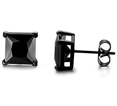 Jstyle Stainless Steel Mens Womens Cubic Zirconia Stud Earrings Black Piercing Hypoallergenic 22G 3-8mm