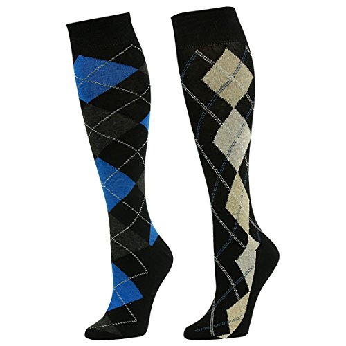 SUTTOS Adult Youth Mens Womens Charged Cotton Flat Knit Blue Yellow Black Argyle Striped Design Knee High Casual Dress Sock,2 (Black And Yellow Striped Nylon Stockings)