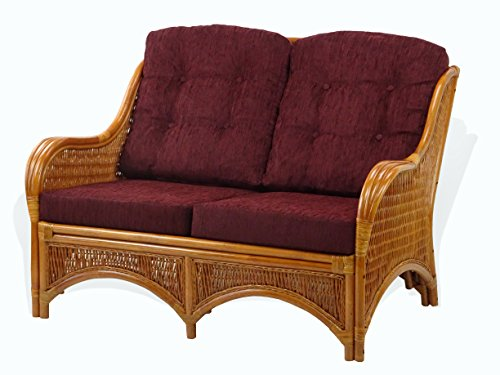 Jam Design Handmade Rattan Wicker Lounge Loveseat Sofa Couch with Thick Dark Brown Cushion Colonial