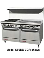 Southbend S60AA 3TR S Series 60 Gas Restaurant Range W 4 Open Burners 36 Right Thermostatic Griddle 2 Convection Ovens