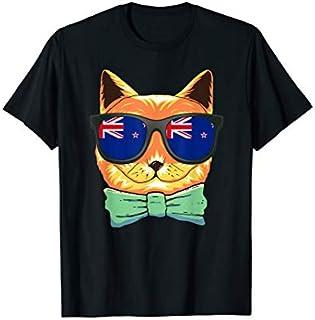 New Zealand Flag New Zealand Cat Sunglasses T-shirt | Size S - 5XL