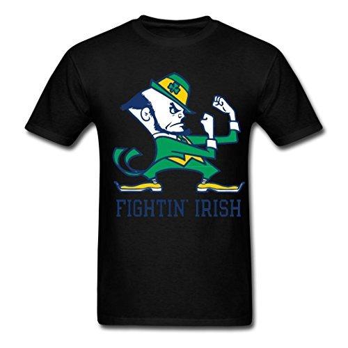 TOGEB Notre Dame Fighting Irish Logo Men's Short T-shirt Men Tee Black L