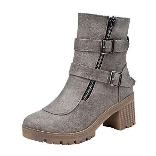 WANQUIY Women's Western Cowboy Boots Buckle Square Heel Boots Ankle Short Booties Military Motorcycle Boot Gray