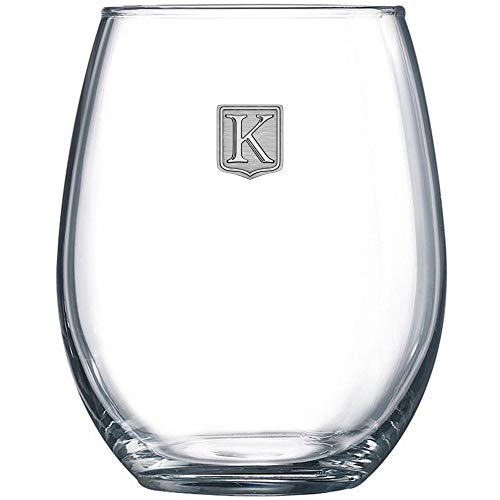 Premium Monogrammed Stemless Wine Glass - Pick Your Letter - Great Personalized Gift Idea - Handmade Polished Pure Pewter Crest - Unique & Practical Customized Present By Fine Occasion (K) - 21 oz -