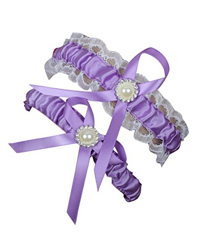 NYARER Women's Lace Garter with 2 Pieces Packing for Wedding Bride Lavender (3 Piece Stretch Garter)