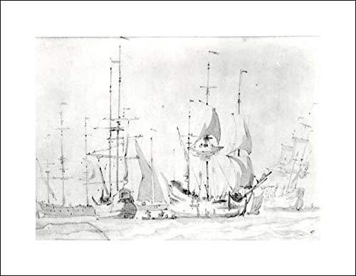 Willem Van de Velde I - 20x16 Art Print by Museum Prints - Dutch Merchant Ships at Anchor or Under Easy Sail in a Moderate Breeze (Dutch Merchant Ships)
