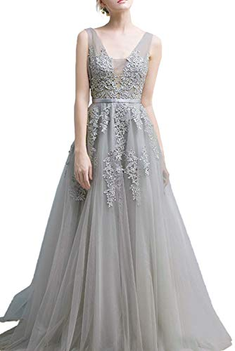 Women's Prom Dress, Ball Gown Deep V-Neck Sleeveless for Evening Party with Lace-Sliver-14 ()