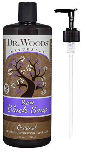 Dr. Woods African Raw Black Vegan Liquid Castile Soap with Pump, 32 Ounce