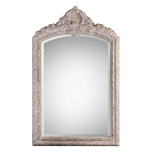 Extra Large Ornate Ivory Arch Wall Mirror | 58