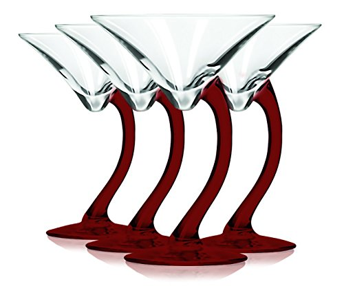 Libbey Red Curved Stem Martini Glasses with Colored Accent - 6.75 oz. Set of 4- Additional Vibrant Colors Available by TableTop King -
