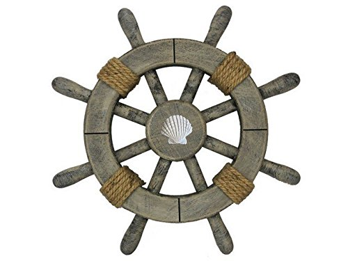 Handcrafted Decor Super-Rustic-White-SW-12-Seashell Rustic Decorative Ship Wheel with Seashell, 12 in.