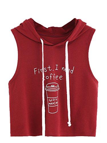 SweatyRocks Tank Top Crop Hoodie Sweatshirt Workout Vest Sleeveless T-Shirt Burgundy M