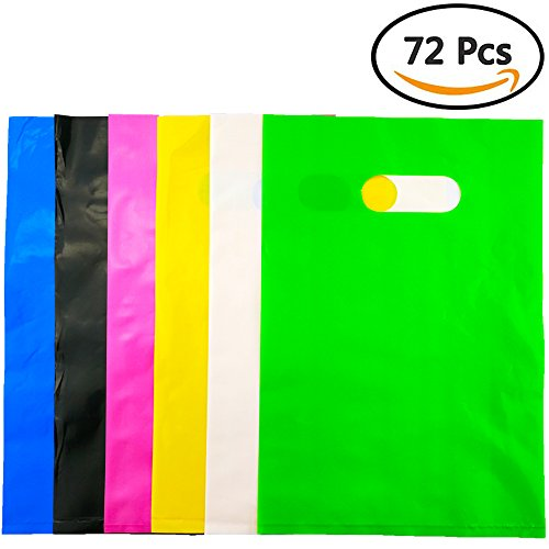 Etmact 72pcs Assorted Colored Plastic Glossy Merchandise Bags Shopping Bags Gift Party Favor Bags with Handles, 20cm x (Colored Plastic)