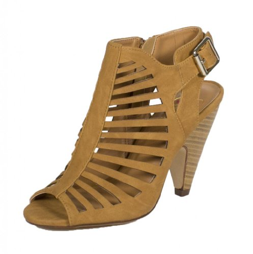 Out US Wood tan Peep Strap Faux Side Sandal Womens M Heel Shaky Buckle Delicious Zipper 8 Cut Toe Leatherette Ankle Stacked Nubuck and q8tBwA
