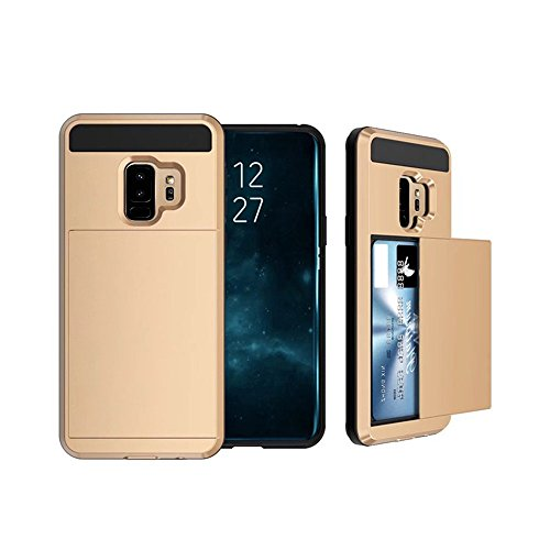 Para Samsung Galaxy S95.8zoll/S9Plus 6.2pulgadas móvil, Card Wallet Seguridad Hybrid Hard Slim Phone Case Cover, buzón de Protectora dorado