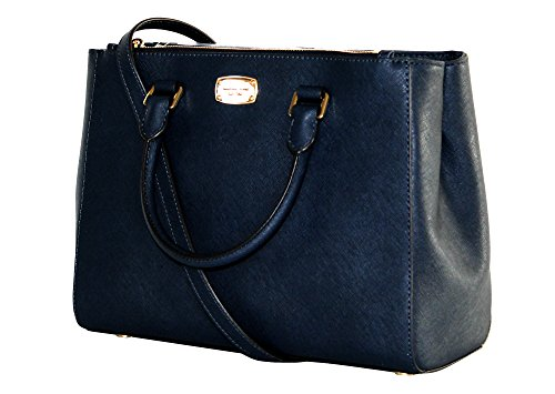 MICHAEL KORS WOMEN'S KELLEN MEDIUM SATCHEL LEATHER Shoulder Handbags (Navy) (Michael Kors Iphone 5 Cover)