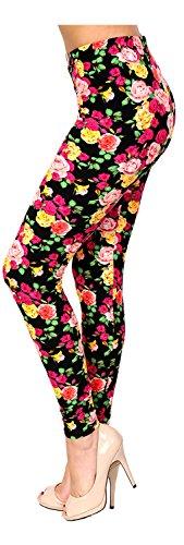 PLUS SIZE Printed Leggings (Pink Yellow Fuchsia Roses) - Fuchsia Rose