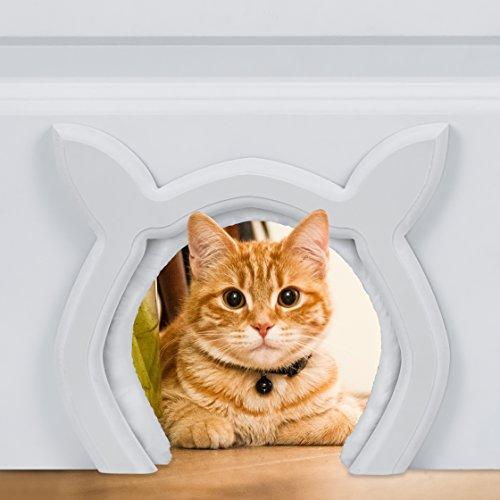Prouder Pet Cat Door for Interior Indoor Doors, Cat Shaped, DIY Fits Most Standard Door Sizes, for Cats up to 21 lbs, Litter Box Concealer
