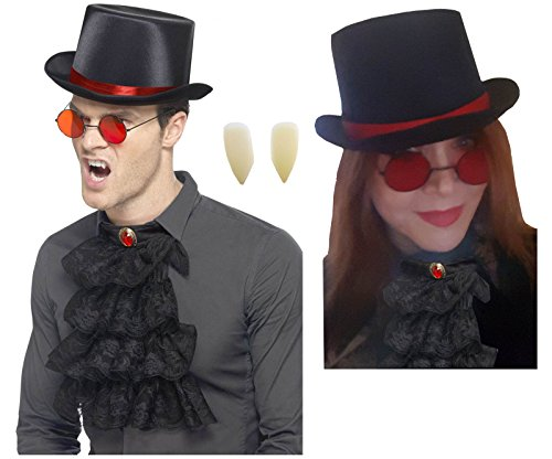Steampunk Gothic Top Hat+Round Red Glasses+Black Cravat Neck Frill+Vampire Fangs - Black With Red Vampire Glasses