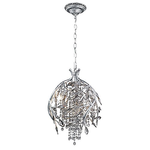 (Golden Lighting 9903-3P MSI Pendant with Smoke Tinted Leaded Crystal Shades, Mystic Silver Finish)
