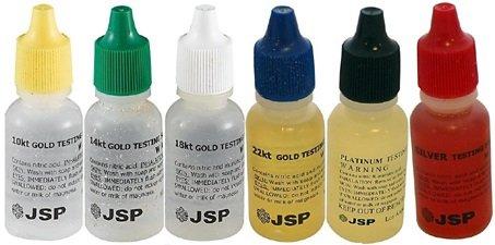 Master Gold Silver Platinum Testing Acid Solutions 6 Acids Kit 10 14 18 22 karat