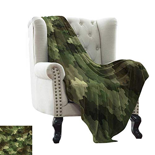 Receiving Blanket Woodland Camouflage - BelleAckerman Flannel Fleece Blanket Camo,Frosted Glass Effect Hexagonal Abstract Being Invisible Woodland Print,Green Pale Green and Brown Soft, Fuzzy, Cozy, Lightweight Blankets 60