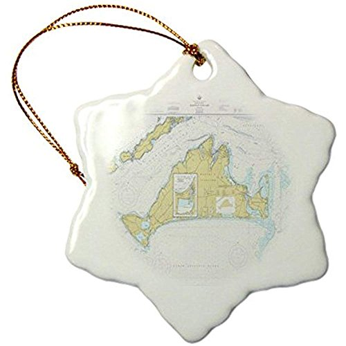 Bowen Rhodes Print Of Nautical Map Of Marthas Vineyard - Snowflake Ornament, Porcelain, 3-Inch (Christmas Martha's Ornaments Vineyard)