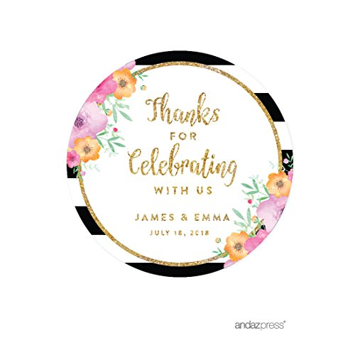 Andaz Press Floral Gold Glitter Print Wedding Collection, Personalized Round Circle Label Stickers, Thank You for Celebrating with US, 40-Pack, Custom Name -