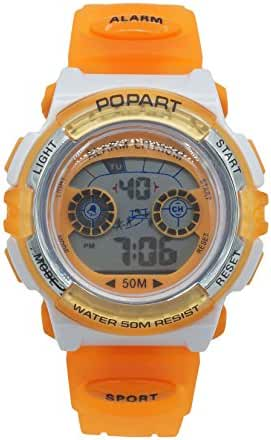 Panegy Outdoor Waterproof Boys Girls Cool Sport Digital Alarm Stopwatch Chronograph Wrist Watch Gift Display - Orange