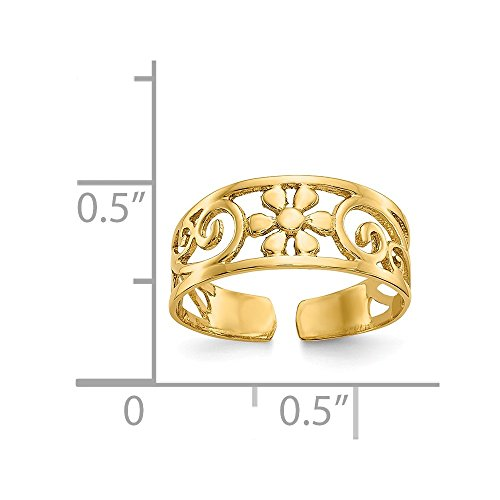 14k Yellow Gold Floral Toe Ring Toe-rings ()